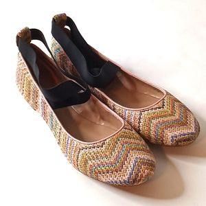 Paris Hilton Ballet Flats Tan Colorful Print 8